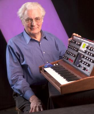 Robert Moog with MiniMoog Synthesizer