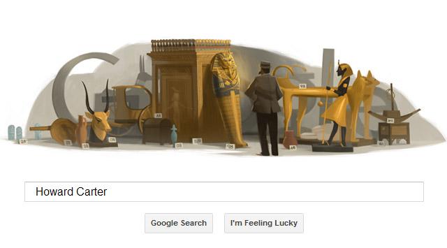 Howard Carter vor dem Schatz des Tutanchamun (Google Doodle)