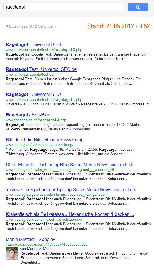 Ragetagol-Test - Google-Suchergebnisse 21.05.2012 - 10:00 Uhr