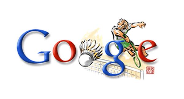 Badminton - schmetternder Tiger (Olympia 2008 Doodle)