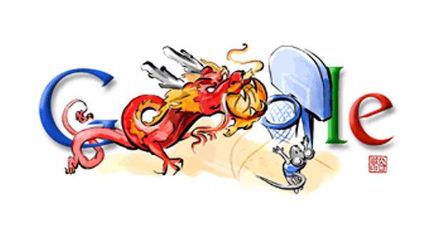 Basketball - Slam Dunk Drache (Olympia 2008 Doodle)