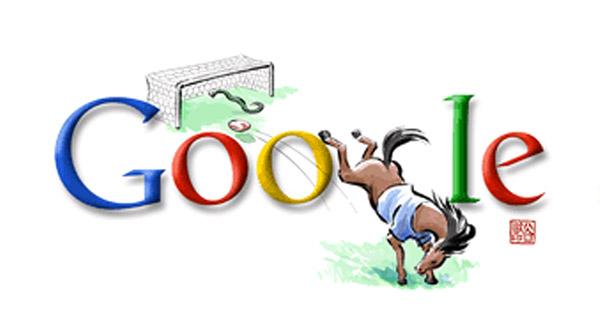 Fußball (Hackentrick-Schuss vom Pferd, Schlange im Tor (Olympia 2008 Doodle)