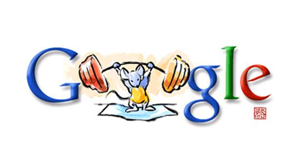 Gewichtheben - starke Maus (Olympia 2008 Doodle)