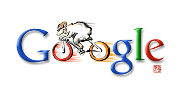Radfahren - rasendes Schaf (Olympia 2008 Doodle)