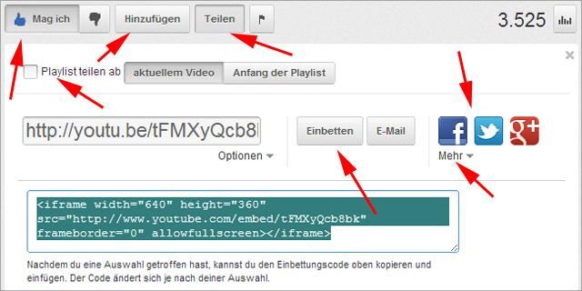 Einige Sharing-Optionen auf der youTube Videoseite