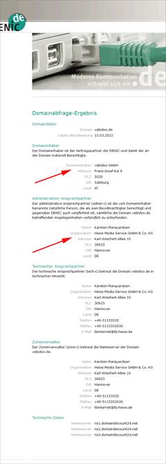 Denic Eintrag von vebidoo - Heise Verlag im Boot.