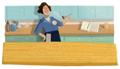 Julia Child im Kochstudio (vor der Doodle-Show)