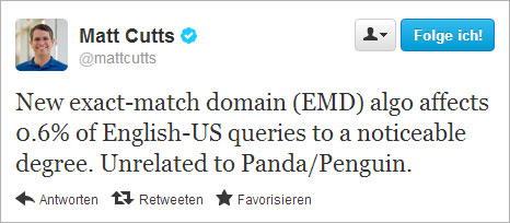 EMD-Bonus abgeschaltet (Matt Cutts Tweet, Sept. 2012)