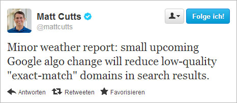 Matt Cutts Exact-Match-Tweet 1