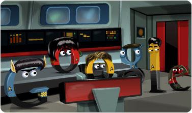 Star Trek Brücke mit Spock, Kirk, Uhura, Sulu, MacCoy und Scotty