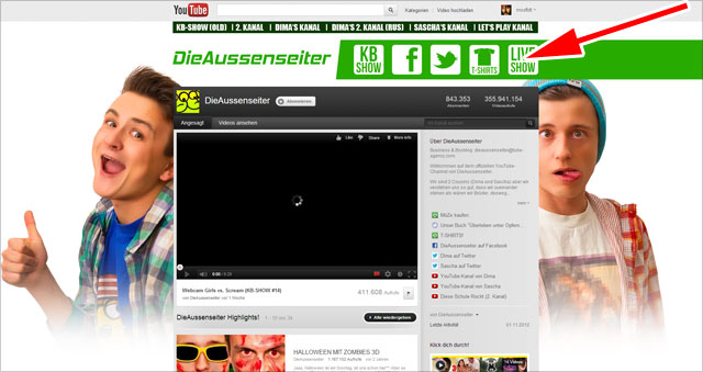 Die Aussenseiter - individueller youTube Kanal mit Buttons im Header
