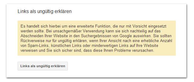 Google Disavow-Links-Tool 2: Sicherheitsabfrage!