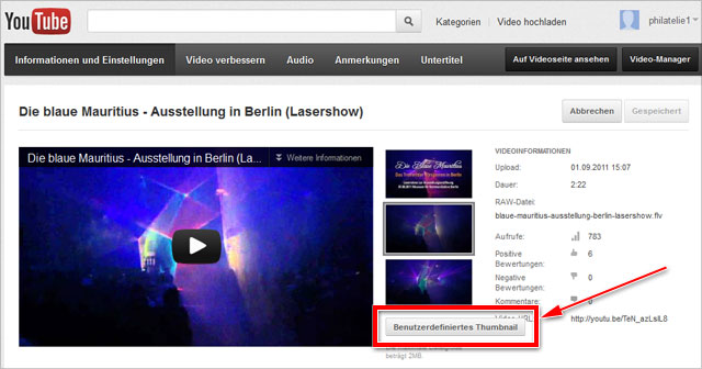 youTube: Benutzerdefiniertes Thumbnail hochladen