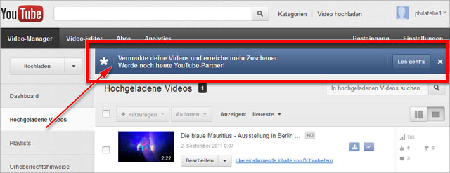 youTube-Partner Einladung