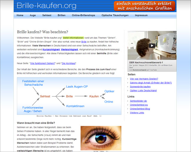 brillen-sehhilfen.de (Screenshot Homepage - Stand: 13.12.2012)