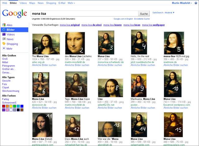 Google Bildersuche Layout 2009