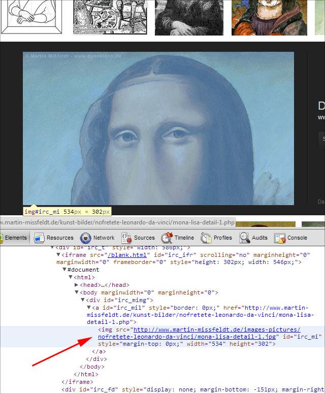 Neue Google Bildersuche Quellcode: Bild wird von woanders geladen