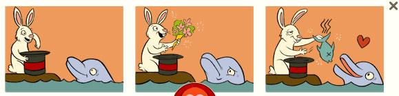 Hase und Delfin (George Ferris Doodle)
