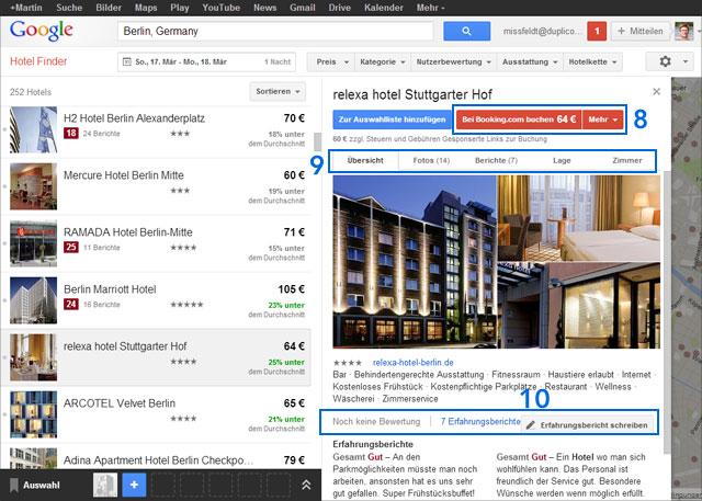 Google Hotel-Finder (Hotel-Auswahlseite)
