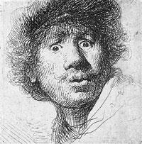 Rembrandt Selbstbildnis (Kupferstich, 1630)