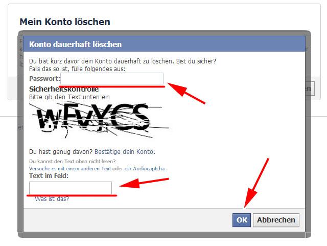 Passwort und Capture, um das facebook-Konto dauerhaft zu löschen