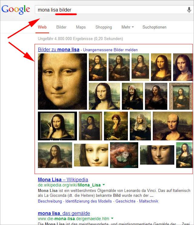 Große Bilder Onebox in den Google Suchergebnissen (Universal Search)