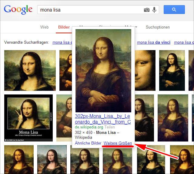 Google Bilder: weitere Größen, Link unter jedem Bild (bei Rollover)