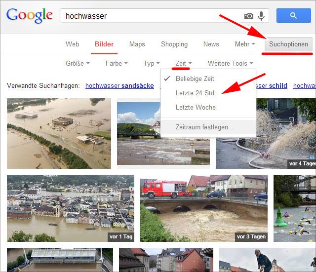 Google Bildersuche nach Zeit / Datum