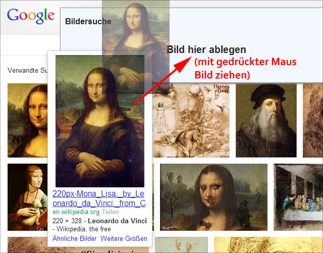 Google Bildersuche: Suche mit Bildern (Search by images)