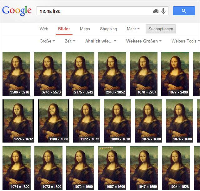 Google Bildersuche - Liste mit weiteren Größen, sortiert.