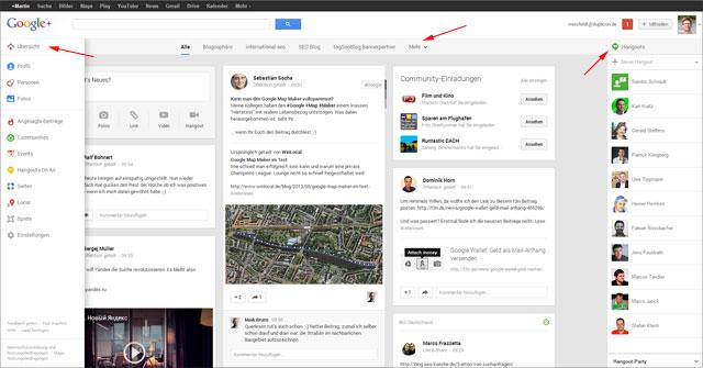 Das neue Google+ Layout: dreispaltig auf großen Screens