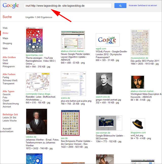 Hotlinks ermitteln mit der alten Google Bildersuche