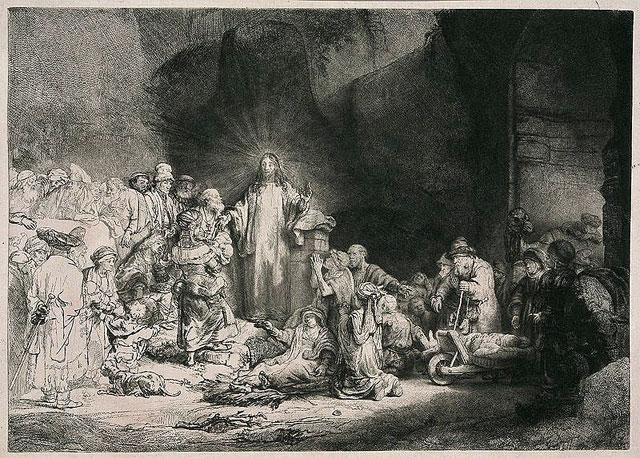 Rembrandt: Hundertguldenblatt (Kupferstich, zwischen 1646-1650)