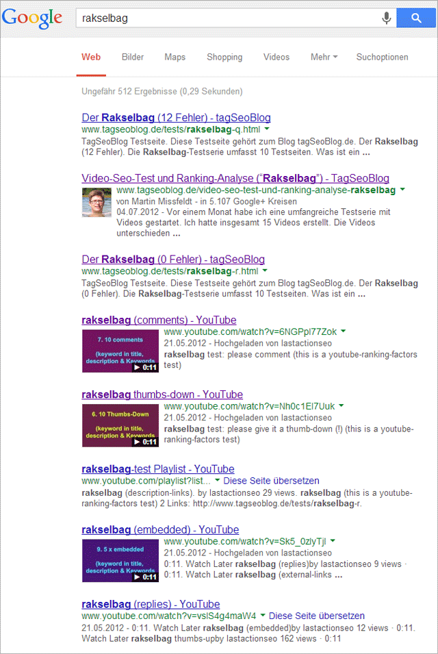 Video-Ranking in Google-Suche (