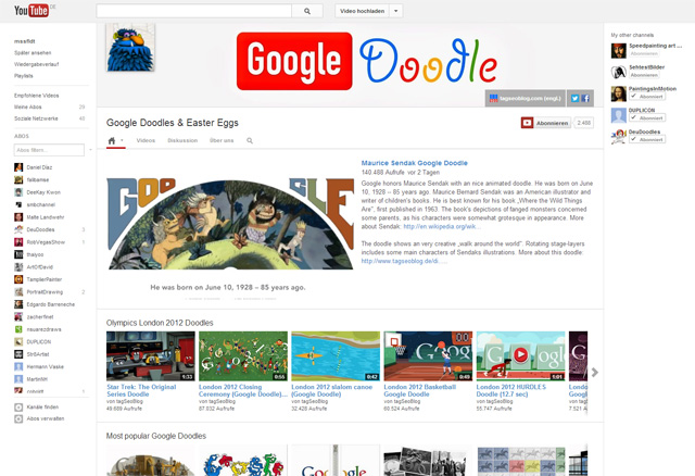 Google Doodle-Kanal vom tagSeoBlog