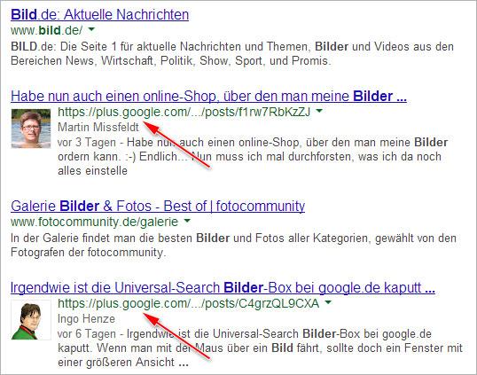 Google+ Beiträge in den Suchergebnissen