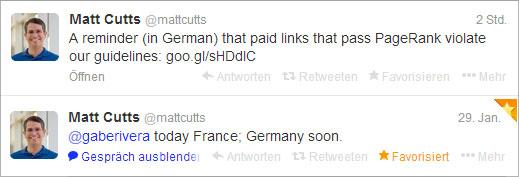 zwei Tweets von Matt Cutts aus den letzten Tagen