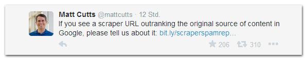 Scraper-Warnung von Matt Cutts