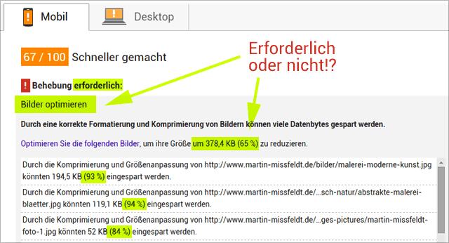 Google Pagespeed: Bildkomprimierung erforderlich !?