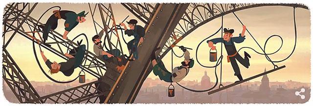 Wann wurde der Eiffelturm eingeweiht? (Google Doodle 31.3.2015)