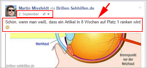 Ein etwas arroganter facebook-Post :-)