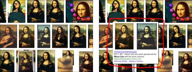Neue Google Bildersuche: Doppelbilder kaum zu erkennen