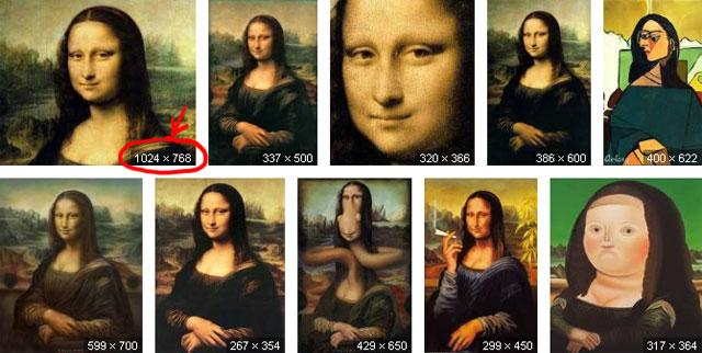 Neue Google Bildersuche: Mona Lisa nun mit Bildgröße