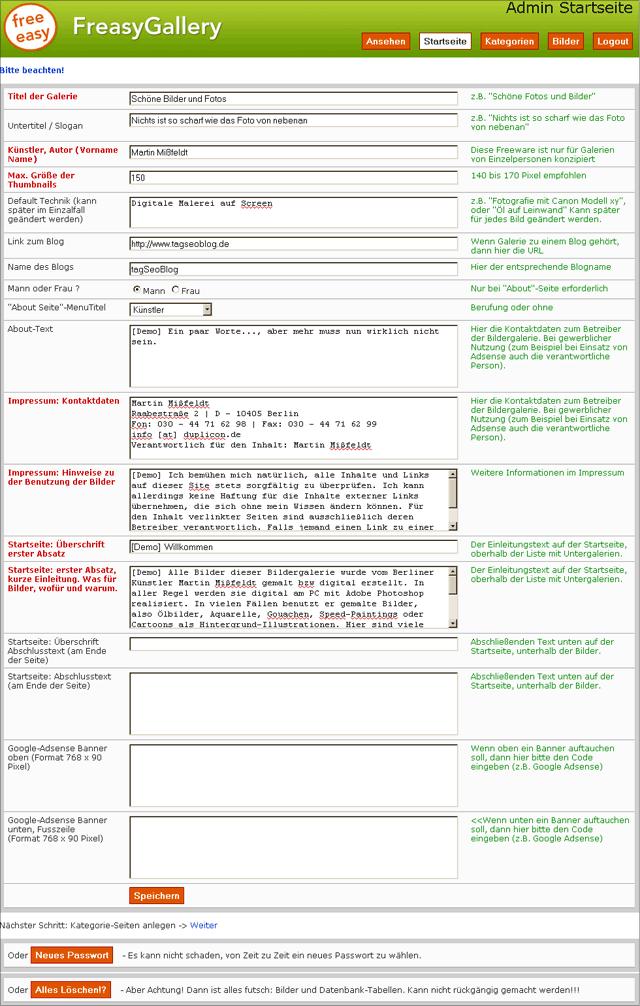 FreasyGallery Admin-Oberfläche Homepage (Voreinstellungen)