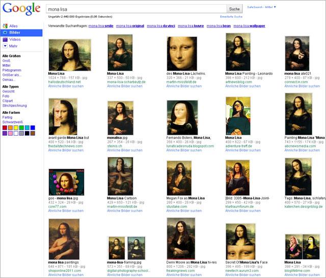 Google Bildersuche alt (Deutschland): Mona Lisa