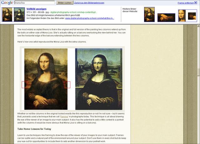 Google Bildersuche Frameset: Entwurf mit weiteren Bildern von der Seite