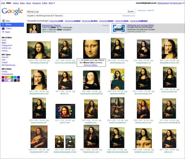 Google Bildersuche - Entwurf für eine mögliche Weiterentwicklung