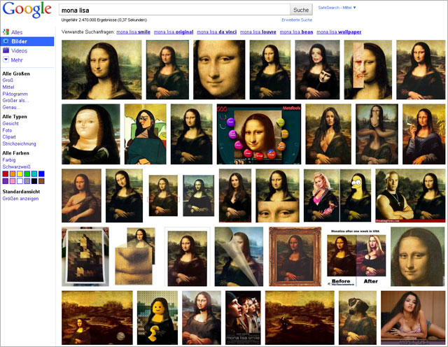 Google Bildersuche neu: Mona Lisa