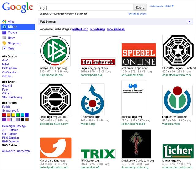 Google images zeigt nun auch SVG-Bilder (logo)
