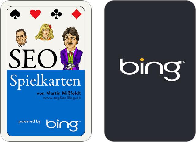 Deckblatt des Seo-Kartenspiel und Rückseite mit Sponsor bing